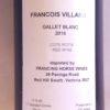 Francois Villard Le Gallet Blanc Cote Rotie 2014 Back Label