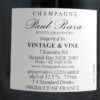 Paul Bara Bouzy Brut Grand Cru Millesime 2008 Back Label