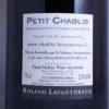 Domaine Roland Lavantureux Petit Chablis 2016 Back Label