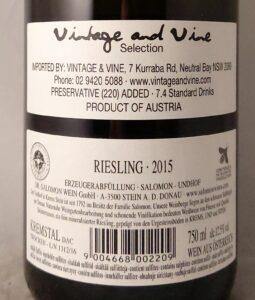 Salomon Steinterrassen Kremstal Riesling 2015 Back Label
