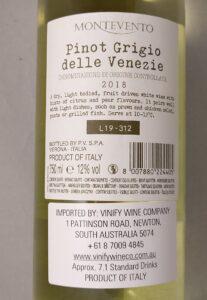 Montevento Pinot Grigio delle Venezie DOC 2018 Back Label