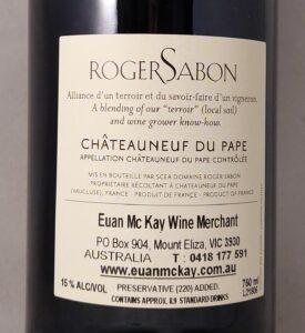 Roger Sabon Cuvee Reservee Chateauneuf-du-Pape 2016 Back Label